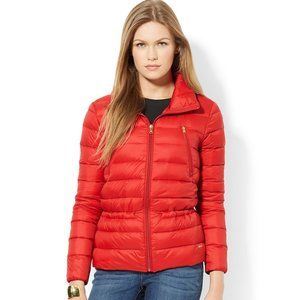 Red Quilted Down Puffer Jacket XL